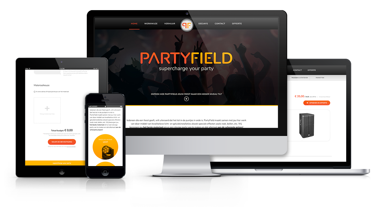 project – PartyField webshop/website – screens