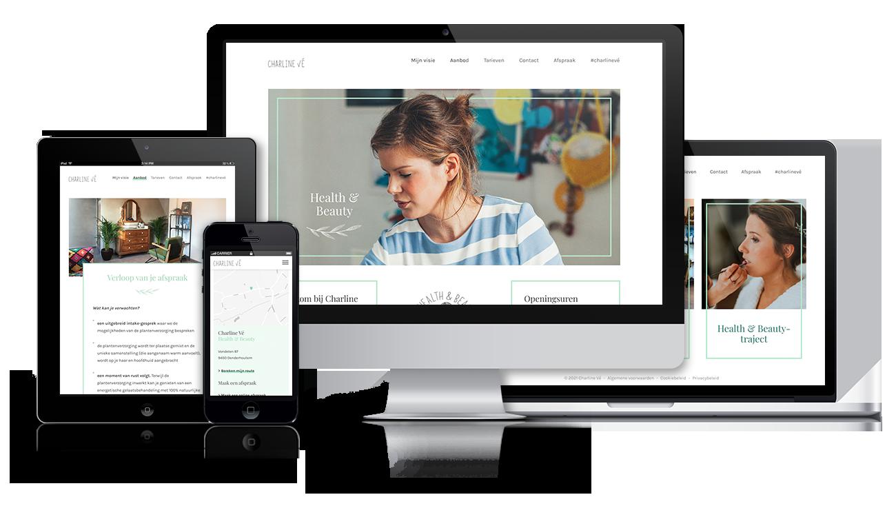Charline Vé – Website on different screens