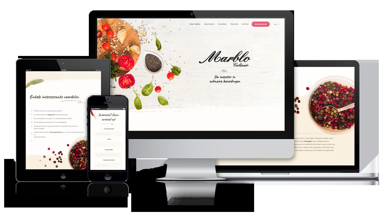 Marblo – Website on different screens